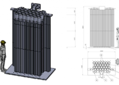 Concept of representative mock-up of a part of the graphite stack (full scale)
